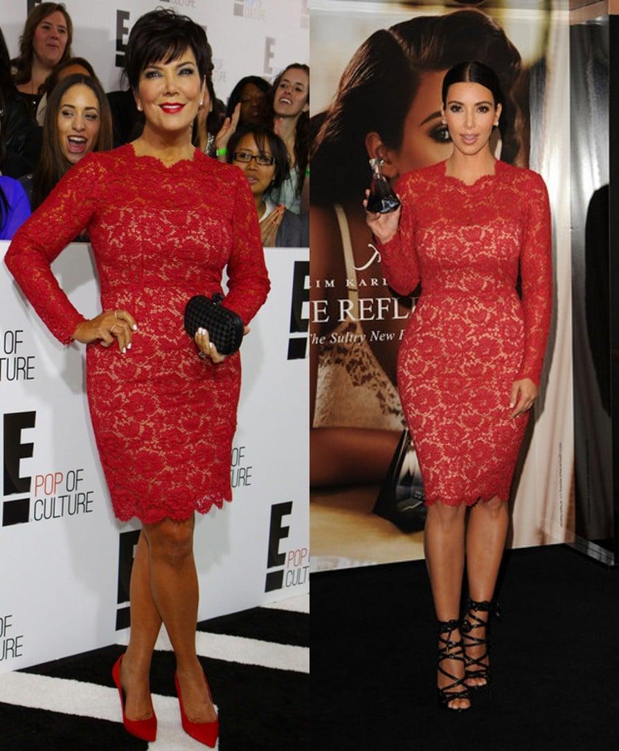 Kris Jenner porte la robe Valentino en dentelle rouge de Kim Kardashian