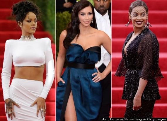 Rihanna,kim kardashian et Beyoncé sont habillées sur le tapis rouge