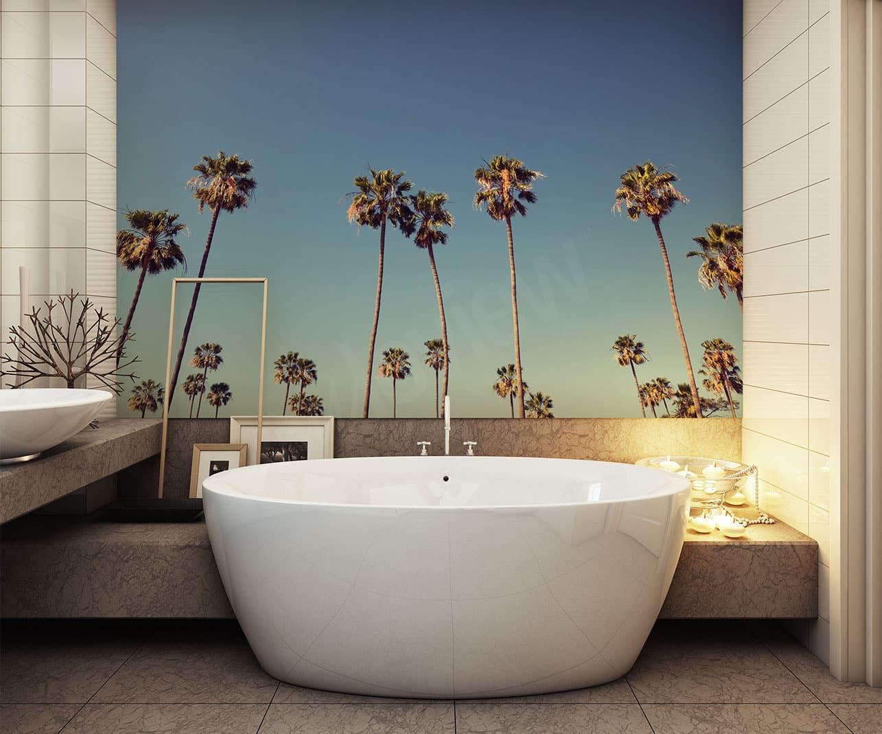 salle de bain papier peint tropiques