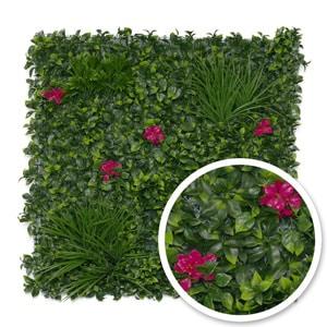 Mur végétal artificiel avec fleurs roses