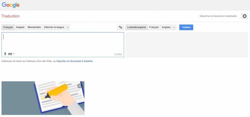 Google Traduction: amélioration des résultats en luxembourgeois